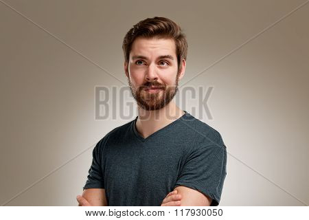 Portrait Of Young Man With Beard, Think Over