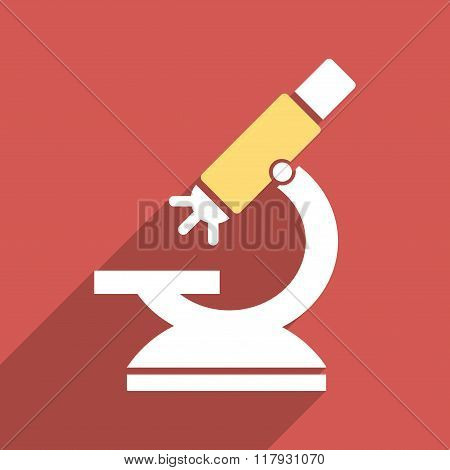 Labs Microscope Flat Long Shadow Square Icon