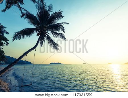 Beautiful sunset on a tropical beach, palm tree with a swing.