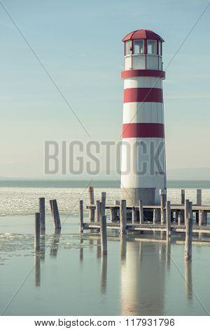 Lighthouse and wooden pier, Podersdorf, Austria