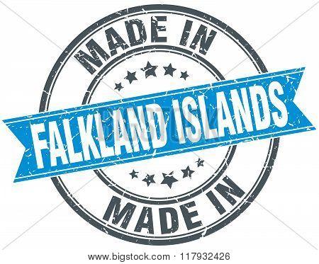 made in Falkland Islands blue round vintage stamp