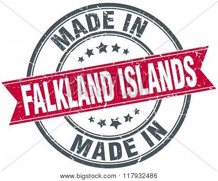 made in Falkland Islands red round vintage stamp