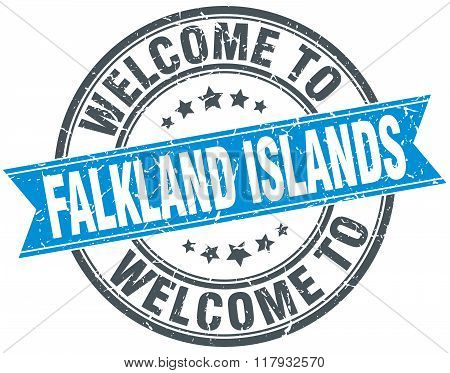welcome to Falkland Islands blue round vintage stamp
