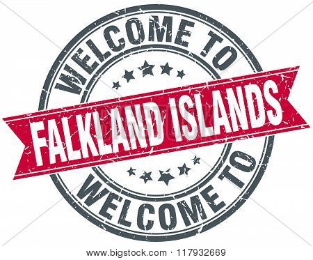 welcome to Falkland Islands red round vintage stamp