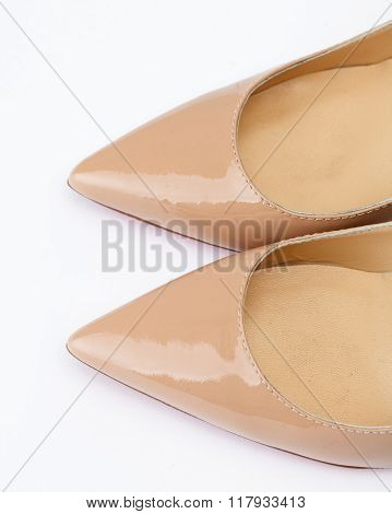 Beige Shoes On White Background