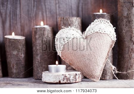 Sackcloth Handmade Heart With Lace