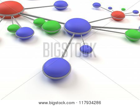 Abstract network circles cell 3D