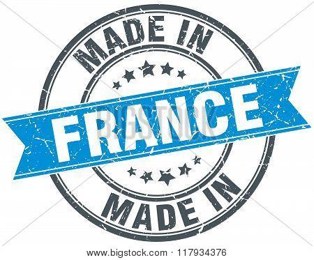 made in France blue round vintage stamp