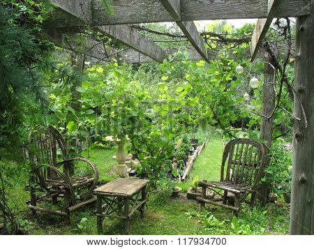 Old Garden Chairs and Table