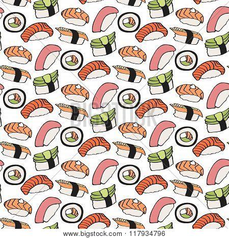 Nigiri sushi sketch. Seamless pattern with hand-drawn cartoon japanese food icon - sushi with fish a