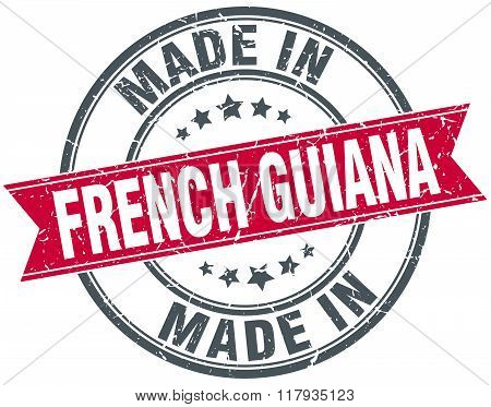 made in French Guiana red round vintage stamp