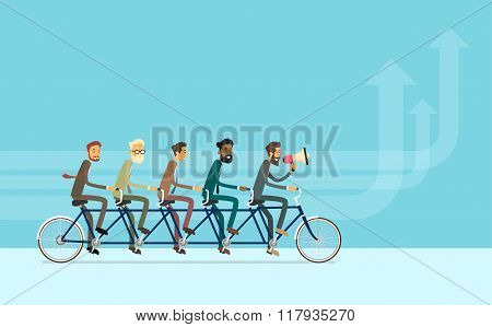 Business People Group Riding Bike Teamwork