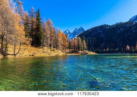 Beautiful View Of Lake Palpuogna In Autumn