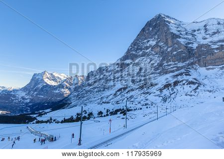 View Of Eiger North Face From Kleine Scheidegg In Winter