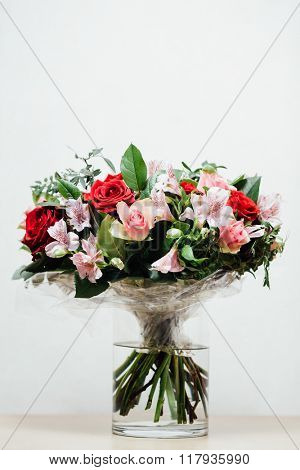 flowers bouquet on light background