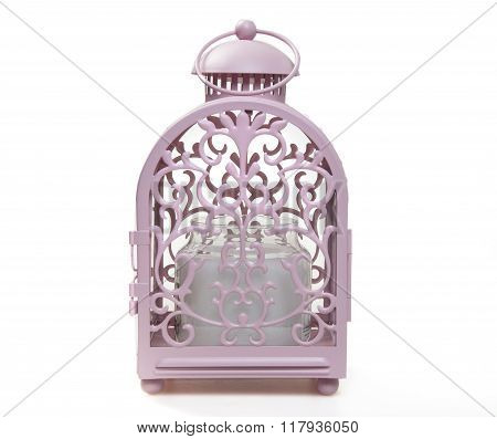 Candle Holder PINK CAGE isolated on white background
