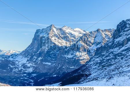 View Of Wetterhorn From Kleine Scheidegg In Winter