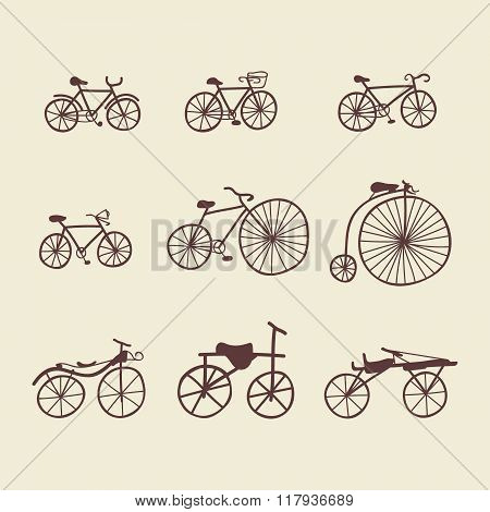 Isolated Doodle Bicycles Clipart Set