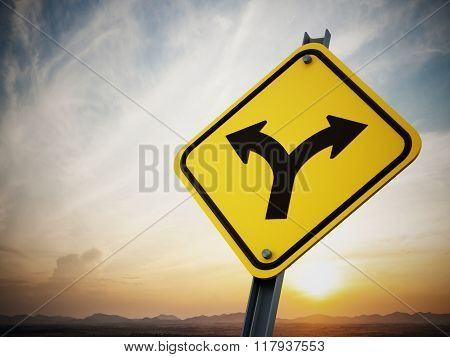 Two Ways Road Sign