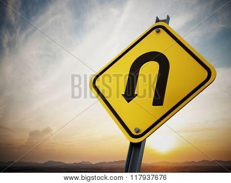 U Turn Road Sign