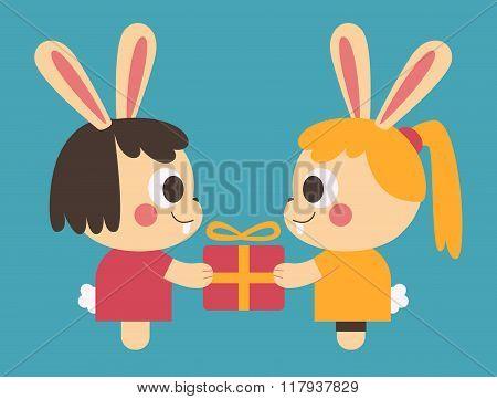 Homosexual Bunny Couple Trading A Present