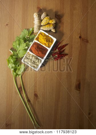 chili ,turmeric root and coriander powder and plants
