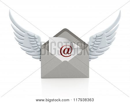 Mail Enveloppe With Wings On Smartphone
