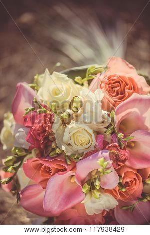 Bridal bouquet with red and burgundy flowers
