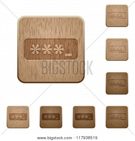 Password Typing Wooden Buttons