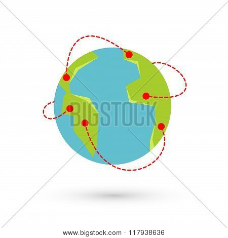 Vector earth travel illustration. Around the world travelling by plane airplane trip in various country travel pin location on a global map.