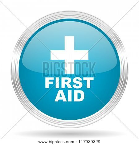 first aid blue glossy metallic circle modern web icon on white background