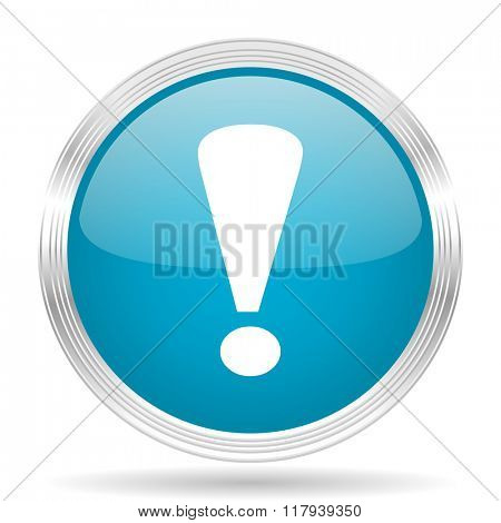 exclamation sign blue glossy metallic circle modern web icon on white background