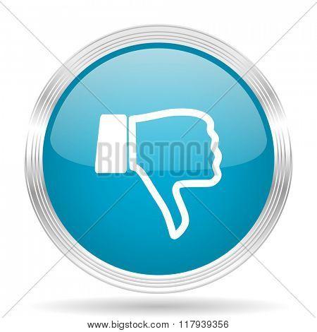 dislike blue glossy metallic circle modern web icon on white background