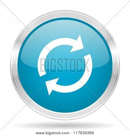 reload blue glossy metallic circle modern web icon on white background