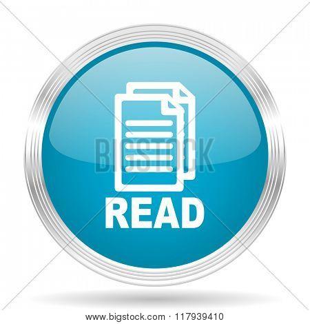 read blue glossy metallic circle modern web icon on white background