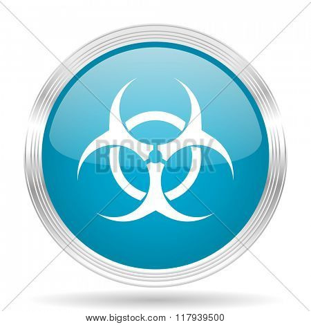biohazard blue glossy metallic circle modern web icon on white background