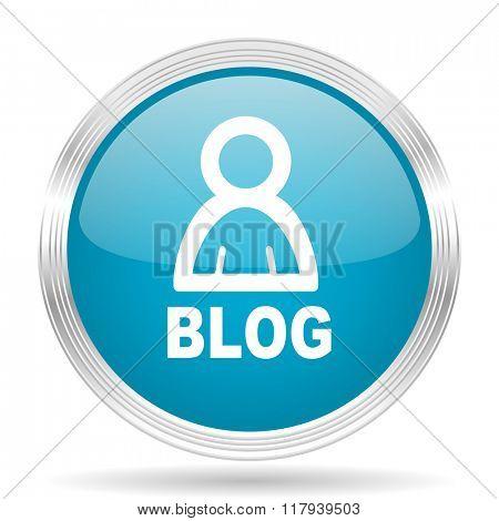 blog blue glossy metallic circle modern web icon on white background