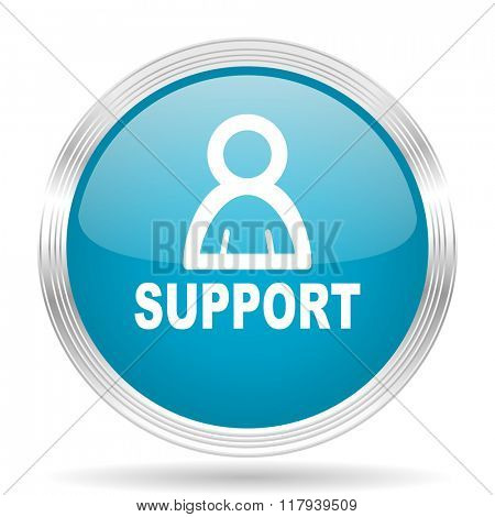 support blue glossy metallic circle modern web icon on white background