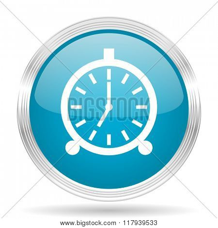 alarm blue glossy metallic circle modern web icon on white background