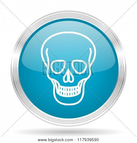 skull blue glossy metallic circle modern web icon on white background