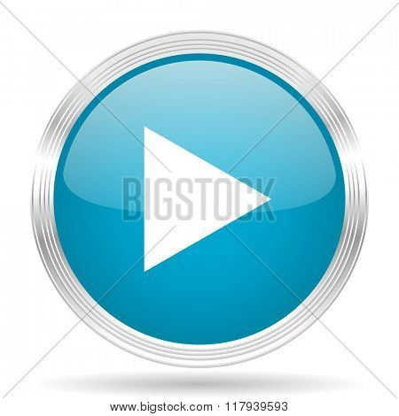 play blue glossy metallic circle modern web icon on white background