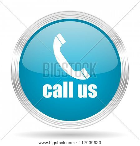 call us blue glossy metallic circle modern web icon on white background