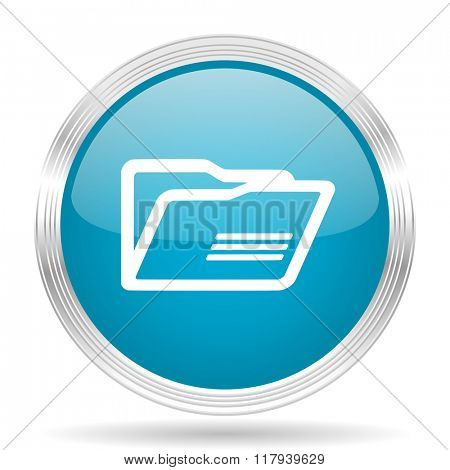 folder blue glossy metallic circle modern web icon on white background