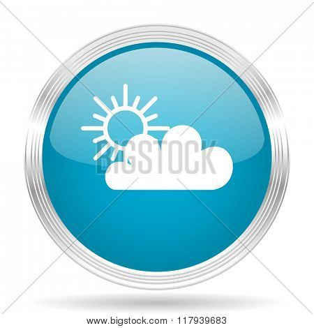 cloud blue glossy metallic circle modern web icon on white background