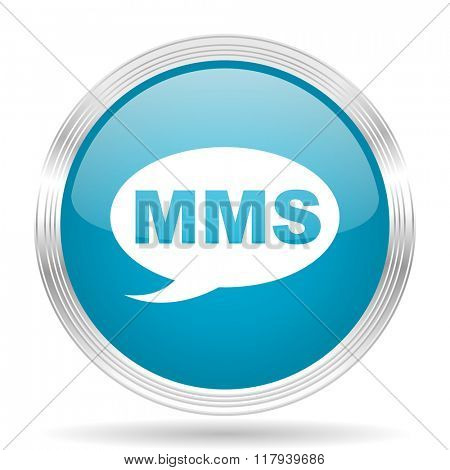 mms blue glossy metallic circle modern web icon on white background