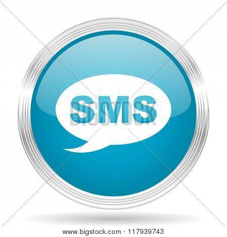 sms blue glossy metallic circle modern web icon on white background
