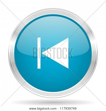 prev blue glossy metallic circle modern web icon on white background