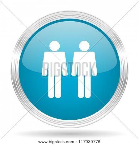 couple blue glossy metallic circle modern web icon on white background