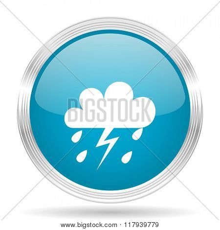 storm blue glossy metallic circle modern web icon on white background