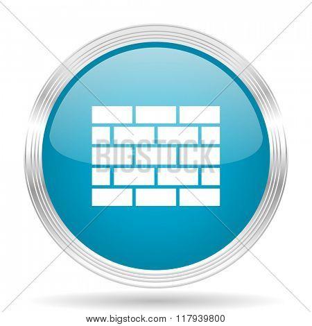firewall blue glossy metallic circle modern web icon on white background